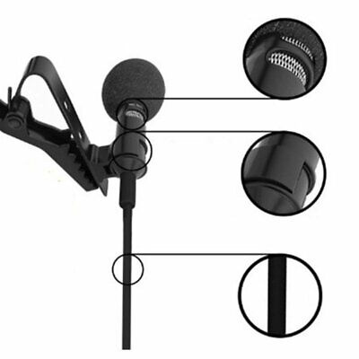 Mini Mic 3.5mm Clip on Tie Lapel Lavalier Microphone Hands Free For Laptop PC EU