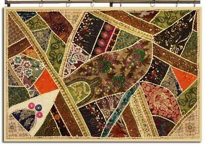"""60"""" Ethnic Indian Art Décor Vintage Sari Zari Lace Moti Wall Hanging Tapestry"""