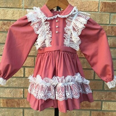Vintage Mini World Dress Size 3T Party Ruffle Lace Toddler Easter Outfit