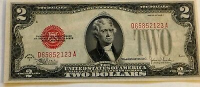 1928 F $2 Two Dollar Bill United States Legal Tender Red Seal Note Uncirculated!