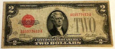 1928 A $2 Two Dollar Bill United States Legal Tender Red Seal Note Fine!