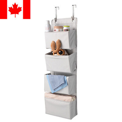 Sortwise® 4-Pocket Hanging Wall Organizer Polyester blend 300D with metal hook