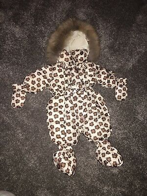 monnalisa snowsuit size 3 months with fur hood