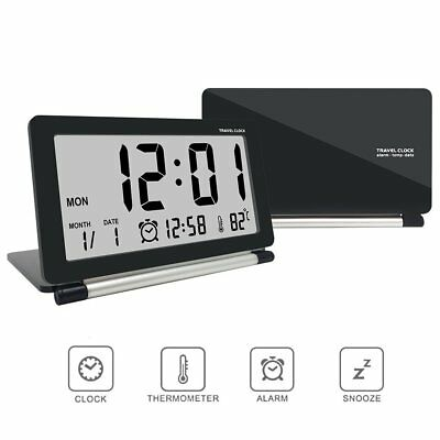 Loskii Folding Digital LCD Desk Travel Alarm Clock Snooze Temperature Calendar