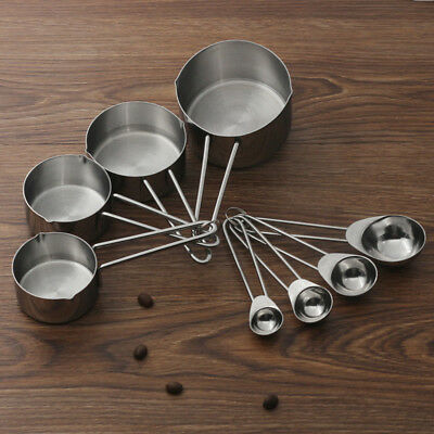Useful 4X For Baking Coffee Stainless Steel Measuring Spoons Cup Tablespoon I1