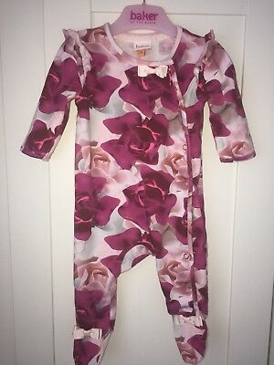 TED BAKER 0-3 Months Sleepsuit rose Print Very Rare With Headband