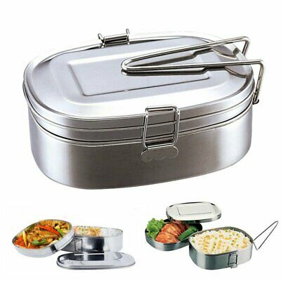 2 Tier Stainless Steel Thermal Insulated Picnic Lunch Box Bento Food Container