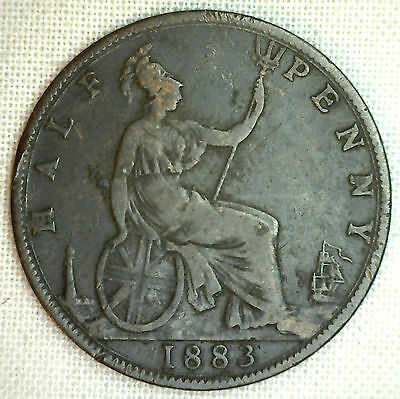 1883 Bronze Half Penny Great Britain UK Coin You Grade It 1/2 Cent #P
