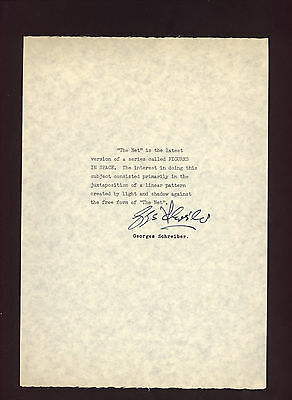 SIGNED letter with COA by artist GEORGES SCHREIBER * The Net * Figures in Space