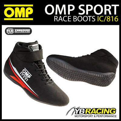Ic/816 Omp Sport Race Boots Fireproof Black Soft Microfibre Fia Approved
