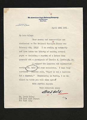 EARL BABST signed 1931 letter *Louis Wiley *American Sugar Refining Co. *Nabisco