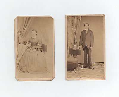 two 1870s CDV photos man woman - Bernville & Reading, Berks County, Pennsylvania