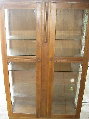 Large Old Wood And Glass Display Cabinet 4 Glass Shelves And Lock Up With Key
