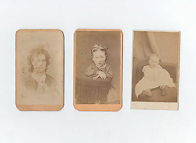 three 1870s CDV photos girl woman baby Philadelphia photographers Mahan & Keller