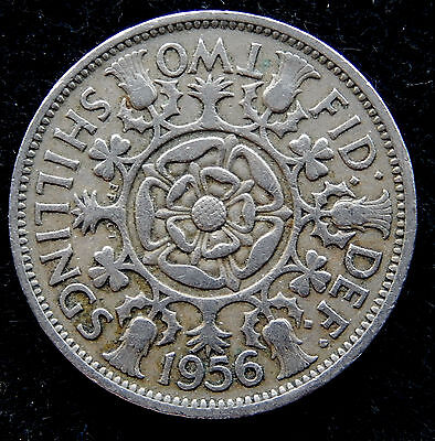 1956 UK Great Britain Florin / Two Shilling Coin KM#906 SB3505
