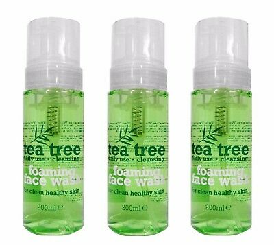 3 x TEA TREE FOAMING FACE WASH - DAILY USE FOR CLEAN HEALTHY SKIN 200ml