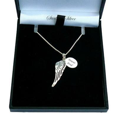 Sterling Silver Necklace with Angel Wing Pendant. Personalised, Any Engraving