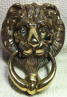 Antique Reclaimed Brass Lions Head Door Knocker.