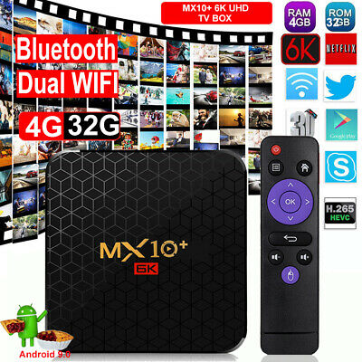 MX10 4+32G Android 9.0 Pie Quad Core 4K Media WIFI HDMI 2.0 Smart TV BOX Film DE