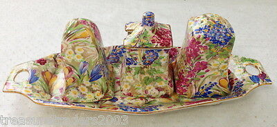 ♡ Royal Winton Chintz ' Crocus ' Cruet Set Salt Pepper Mustard Pot On Tray