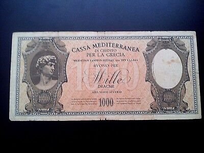 Greece Paper Money 1000 Drachmai <Cassa Mediterranea> 1941 ***very Nice***