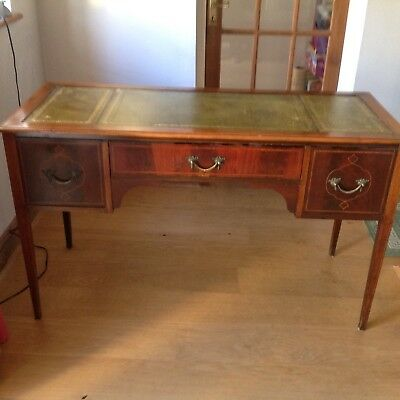 Reproduction Edwardian Style Desk Green Top 3 Drawer