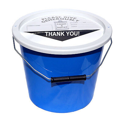10 Charity Fundraising Money Collection Buckets 5.7 Litres - Light Blue