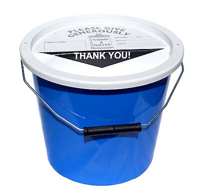 4 Charity Fundraising Money Donation Collection Buckets 5.7 Litres - Light Blue