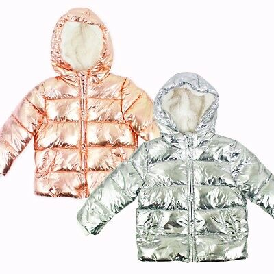 Girls Branded Metallic Shiny Puffer Winter Coat Jacket Fur Lining Quilted Padded