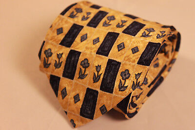 New Stafford 100% Silk Blue, Yellow, and Black Floral Geometric Men's Neck Tie