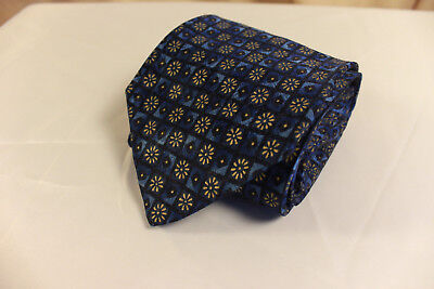 New Stafford 100% Silk Blue, Gold, and Black Floral Geometric Men's Neck Tie