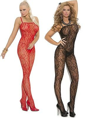 Rose Lace Body stocking Crotchless EM1610 PLUS & ONE SIZE RED & BLACK One Piece