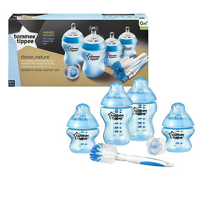 BLUE Tommee Tippee Closer To Nature Newborn Slow Flow Bottle Starter Set