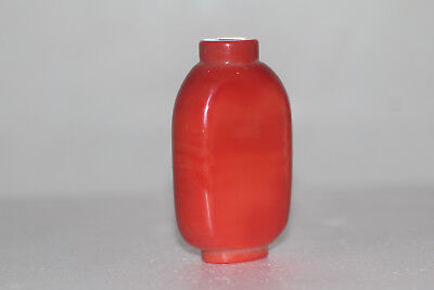 rare China manual Polished red agate snuff bottle
