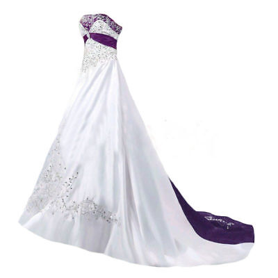 Plus Size White And Purple Satin Wedding Dresses Embroidery Beaded Bridal Gown