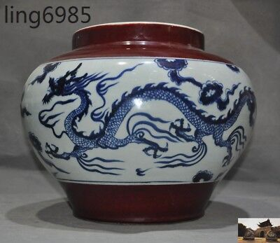 "14"" Old Chinese Blue&White porcelain Red Glaze dragon Tanks Crock Bottle Pot Jar"