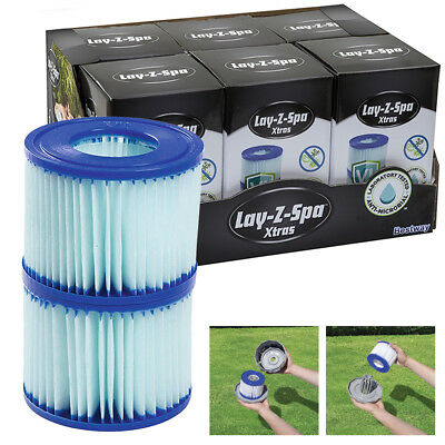 12 Lay-Z-Spa Cartridges Bestway Anti-Microbial Filter Cartridge VI 6 Twin Pack