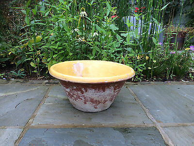 Vintage French Terracotta Garden / Conservatory Pot With Deep Yellow Glaze