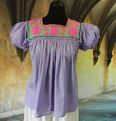 Lavender Pink & Lime Hand Embroidered Blouse Chiapas Mexico Peasant Hippie Boho