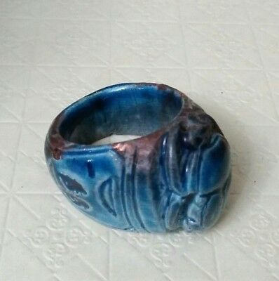 RARE ANCIENT EGYPTIAN blue glassy faience RING  a New Kingdom (1549–1069) BC