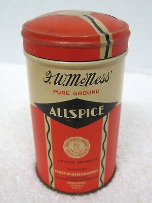Antique Furst McNess All Spice Round  Spice Tin Freeport Ill 3 1/2 T89