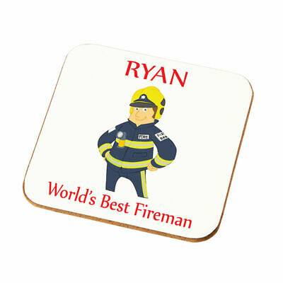 Personalised Worlds Best Fireman Coaster Gift Son Husband Uncle Firemen Present