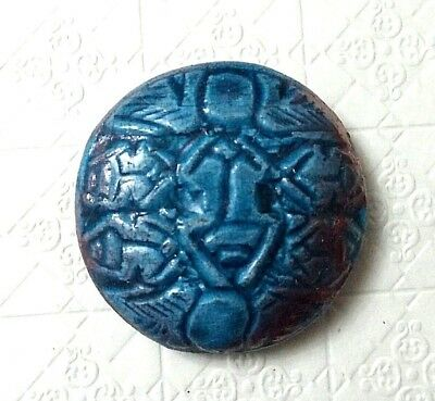 RARE ANCIENT EGYPTIAN beautiful blue GLASSY FAIENCE round piece (332–1069) BC
