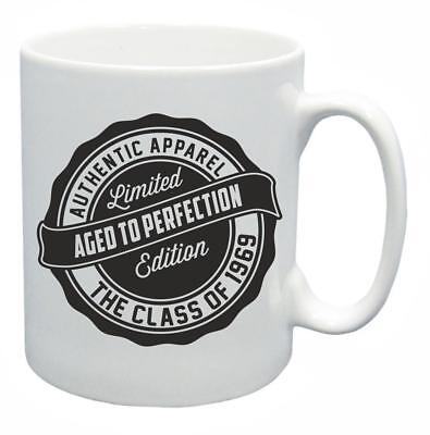 50th Novelty Birthday Gift Mug Year 1969 Aged To Perfection Funny Coffee Tea Cup