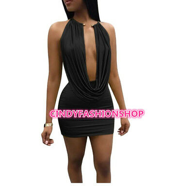 USA Women Sexy Two  Piece Set Halter Pleated Backless Club Party Mini Dress