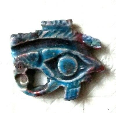 Rare Ancient Egyptian blue glassy faience Eye of Horus amulet a (1069–332 BC)