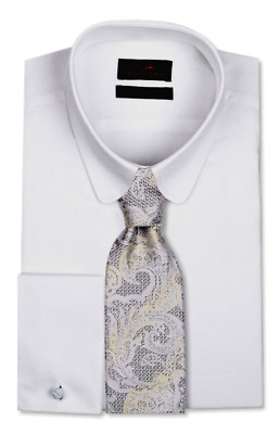 8f83fd2554c Dress Shirt Only by Steven Land Trim Classic Fit- Sq French cuff-White-TA727
