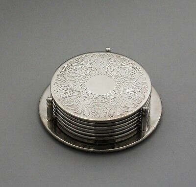 1960s vintage silver plate engraved set 6 small drinks coasters on stand retro