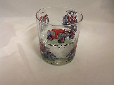 David Brown 6 Diffrent  Tractors On Large Heavey Base Whisky Tumbler Glass