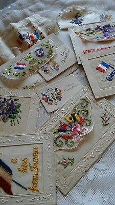 6 Interesting Ww1 Silk Postcards..two With Handkerchiefs..active Service Ref